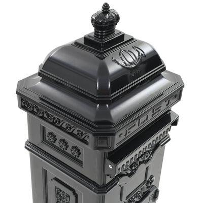 vidaXL Алуминиева пощенска кутия стълб винтидж стил неръждаема черна