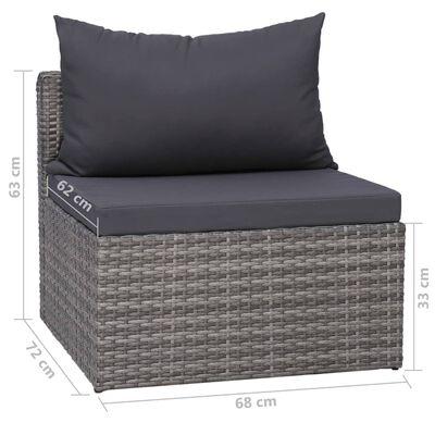 vidaXL Градински комплект с възглавници, 8 части, полиратан, сив