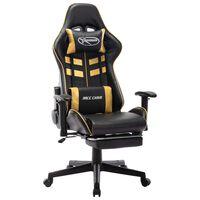 vidaXL Геймърски стол с подложка крака черно/златисто изкуствена кожа