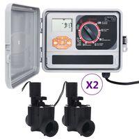 vidaXL Градински програматор за напояване с 4 електромагнитни клапана