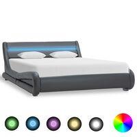 vidaXL Рамка за легло с LED, сива, изкуствена кожа, 140x200 cм
