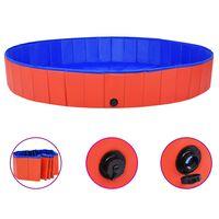 vidaXL Сгъваем басейн за кучета, червен, 200x30 см, PVC