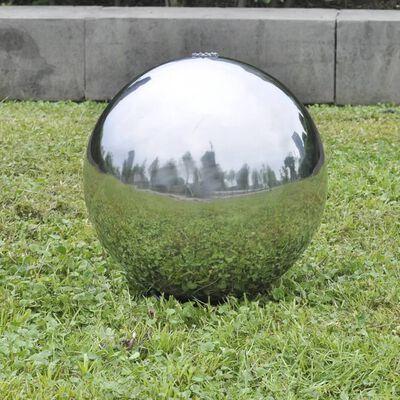 vidaXL Градинска сфера за фонтан с LED, неръждаема стомана, 30 см