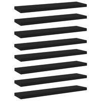 vidaXL Рафтове за етажерка, 8 бр, черни, 40x10x1,5 см, ПДЧ