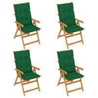 vidaXL Градински столове 4 бр зелени възглавници тиково дърво масив