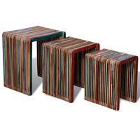 vidaXL Комплект от 3 стифиращи масички, регенериран многоцветен тик