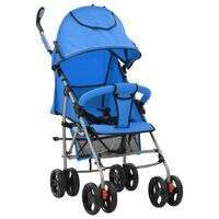 vidaXL Сгъваема детска количка/бъги 2-в-1, синя, стомана