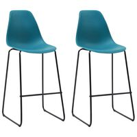 vidaXL Бар столове, 2 бр, тюркоаз, пластмаса