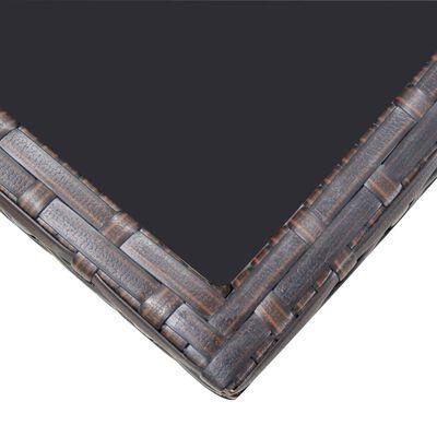 vidaXL Градински комплект с възглавници, 11 части, кафяв полиратан