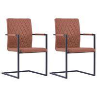 vidaXL Конзолни трапезни столове, 2 бр, кафяви, изкуствена кожа