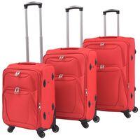 vidaXL Комплект от 3 броя меки куфари на колелца, червени