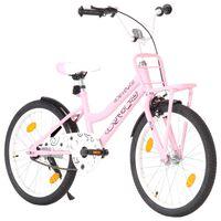 vidaXL Детски велосипед с преден багажник, 20 цола, розово и черно