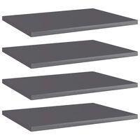 vidaXL Рафтове за етажерка, 4 бр, сив гланц, 40x30x1,5 см, ПДЧ