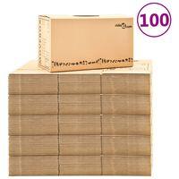 vidaXL Картонени кутии за преместване, XXL, 100 бр, 60x33x34 см