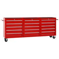vidaXL Количка за инструменти с 15 чекмеджета, стомана, червена