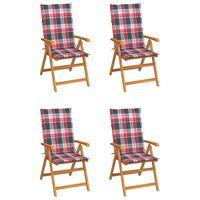 vidaXL Градински столове, 4 бр, възглавници на червено каре, тик масив