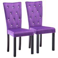 vidaXL Трапезни столове, 2 бр, лилави, кадифе