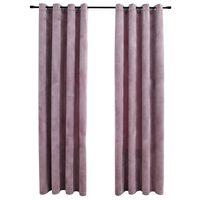 vidaXL Затъмняващи завеси с халки, 2 бр, кадифе, розови, 140x175 см