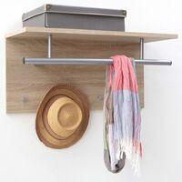 FMD Стенна закачалка за дрехи, 72x29,3x34,5 см, цвят дъб