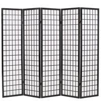 vidaXL Параван за стая, 5 панела, японски стил, 200х170 cм, черен