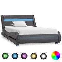 vidaXL Рамка за легло с LED, сива, изкуствена кожа, 90x200 cм