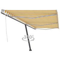 vidaXL Свободностоящ ръчно прибиращ се сенник, 600x300 см, жълто/бяло
