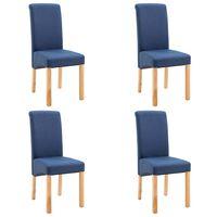 vidaXL Трапезни столове, 4 бр, сини, плат