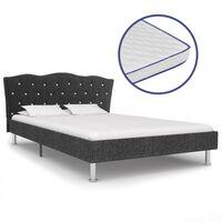 vidaXL Легло с матрак от мемори пяна, тъмносиво, плат, 120x200 см