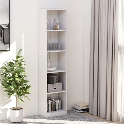 vidaXL 5-етажна библиотека, бял силен гланц, 40x24x175 см, ПДЧ