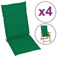 vidaXL Възглавници за градински столове, 4 бр, зелени, 120x50x4 см