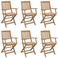 vidaXL Сгъваеми градински столове, 6 бр, с възглавници, акация масив