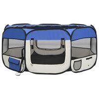 vidaXL Сгъваема кучешка кошара с чанта за носене, синя, 145x145x61 см