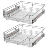 vidaXL Телени кошници, плъзгащи се, 2 бр, сребристи, 500 мм