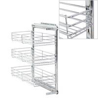 vidaXL 3-етажна издърпваща се кошница за кухня, сребриста, 47x25x56 см