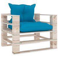 vidaXL Градински палетен диван със сини възглавници, борово дърво
