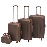 vidaXL Комплект от 4 броя твърди куфари на колелца, цвят кафе