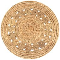 vidaXL Плетен килим с дизайн, от юта, 90 см, кръгъл