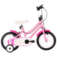 vidaXL Детски велосипед, 12 цола, бяло и розово