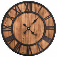 vidaXL Винтидж стенен кварцов часовник, дърво и метал, 60 см, XXL