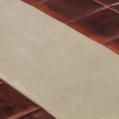 vidaXL 2- местна пейка, тъмнокафяво и сиво, естествена козя кожа