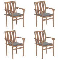 vidaXL Стифиращи градински столове с възглавници, 4 бр, тик масив