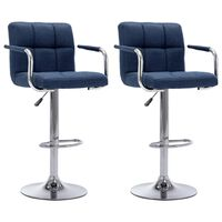 vidaXL Бар столове, 2 бр, сини, текстил