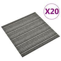 vidaXL Килимни плочки за под, 20 бр, 5 м², 50x50 см, антрацитни ивици