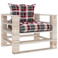 vidaXL Градински палетен диван с възглавници на червено каре, бор