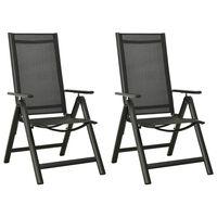 vidaXL Сгъваеми градински столове, 2 бр, textilene и алуминий, черни
