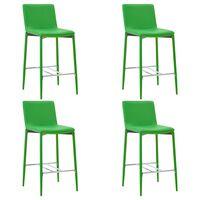 vidaXL Бар столове, 4 бр, зелени, изкуствена кожа