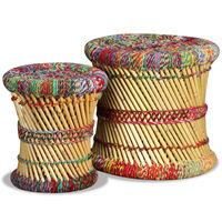 vidaXL Табуретки с Chindi детайли, 2 бр, многоцветни, бамбук