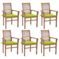 vidaXL Трапезни столове, 6 бр, с яркозелени възглавници, тик масив