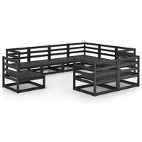 vidaXL Градински лаундж комплект, 9 части, черен, бор масив