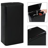 vidaXL Кош за смет с автоматичен сензор черен неръждаема стомана 80 л
